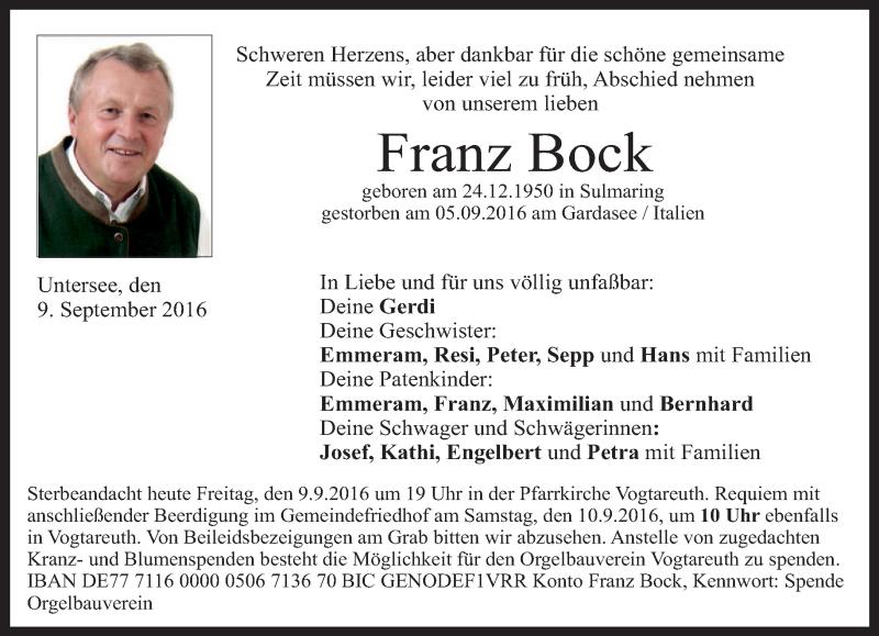Traueranzeige für Franz Bock vom 09.09.2016 aus ovb