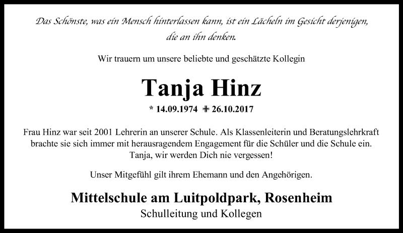 Traueranzeige für Tanja Hinz vom 02.11.2017 aus ovb