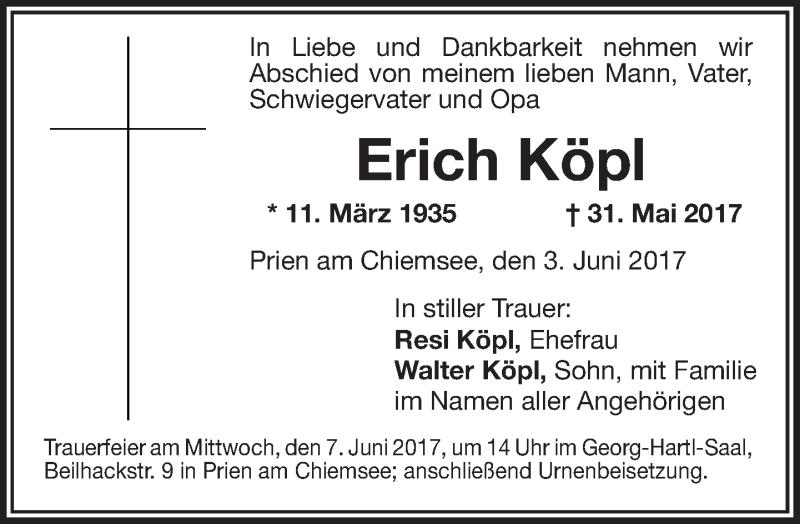 Traueranzeige für Erich Köpl vom 03.06.2017 aus ovb
