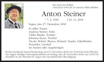 Traueranzeige für Anton Steiner vom 27.12.2018 aus ovb