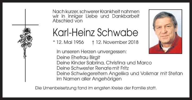 Traueranzeige für Karl-Heinz Schwabe vom 01.12.2018 aus ovb