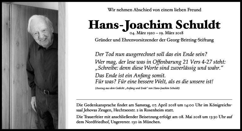 Traueranzeige für Hans-Joachim Schuldt vom 04.04.2018 aus ovb