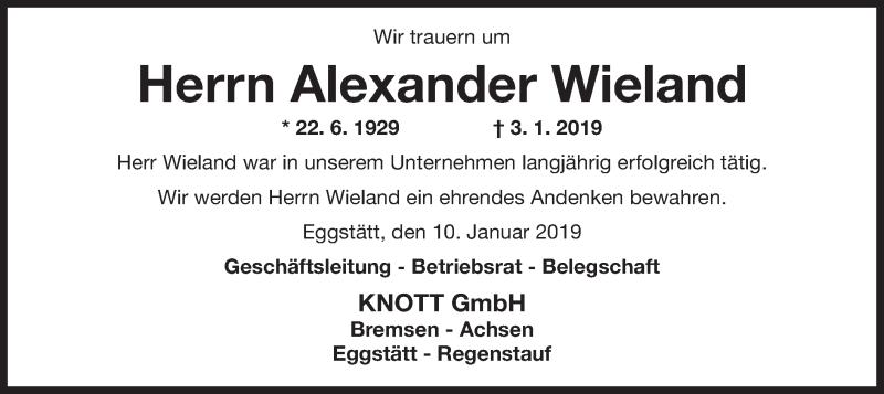 Traueranzeige für Alexander Wieland vom 10.01.2019 aus ovb
