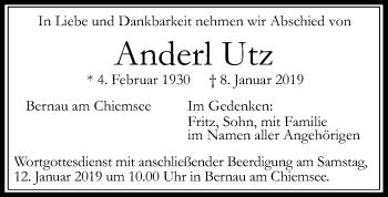 Traueranzeige für Anderl Utz vom 10.01.2019 aus ovb