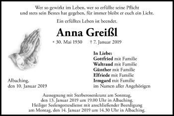 Traueranzeige für Anna Greißl vom 10.01.2019 aus ovb