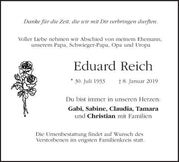 Traueranzeige für Eduard Reich vom 10.01.2019 aus ovb