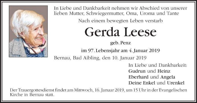 Anzeige von  Gerda Leese
