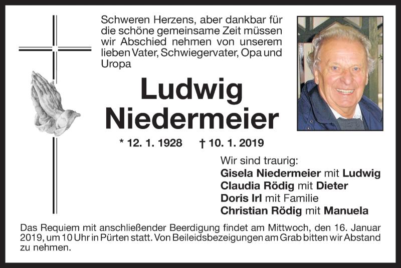 Traueranzeige für Ludwig Niedermeier vom 12.01.2019 aus ovb