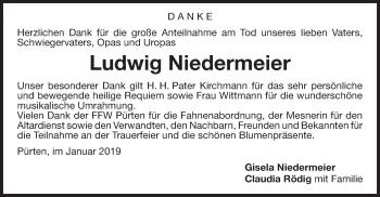 Traueranzeige für Ludwig Niedermeier vom 26.01.2019 aus ovb