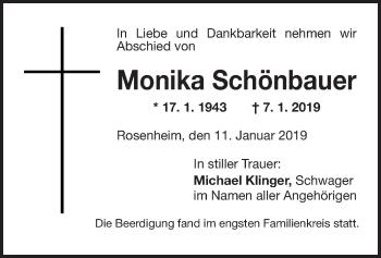 Traueranzeige für Monika Schönbauer vom 11.01.2019 aus ovb