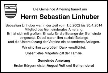 Traueranzeige für Sebastian Linhuber vom 09.01.2019 aus ovb