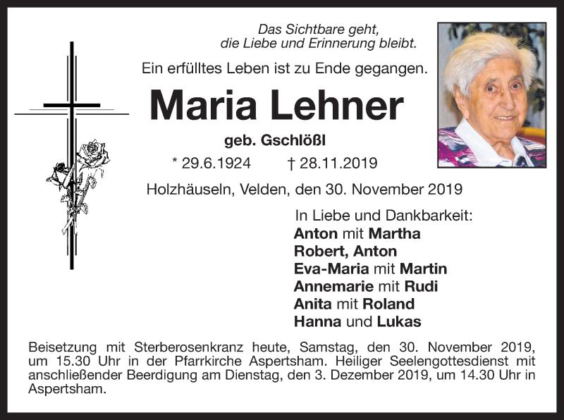 Traueranzeige für Maria Lehner vom 30.11.2019 aus ovb