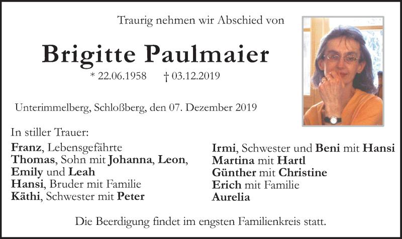 Traueranzeige für Brigitte Paulmaier vom 07.12.2019 aus ovb
