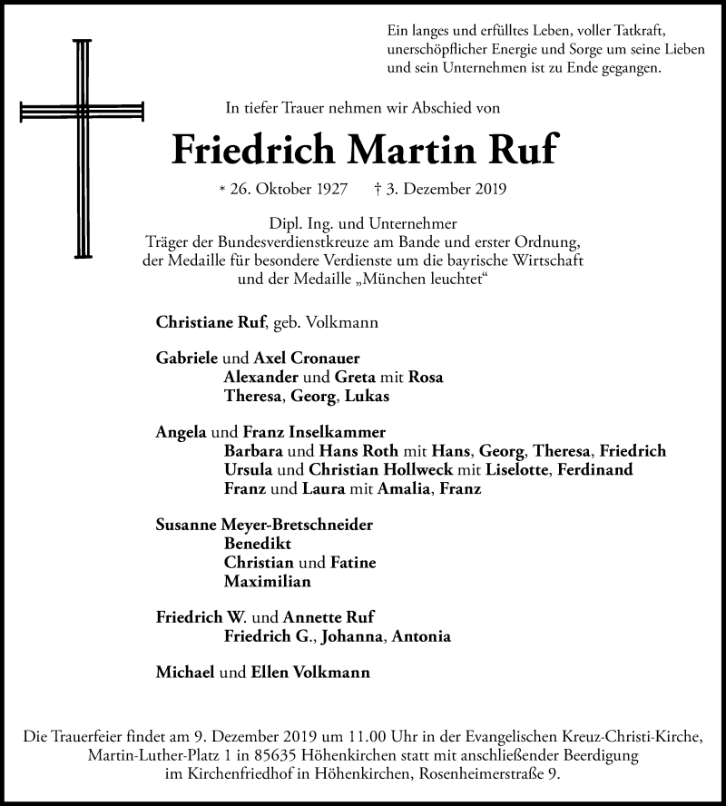 Anzeige von  Friedrich Martin Ruf