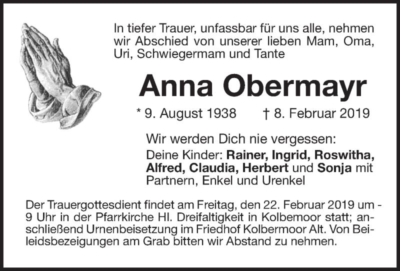 Traueranzeige für Anna Obermayr vom 20.02.2019 aus ovb