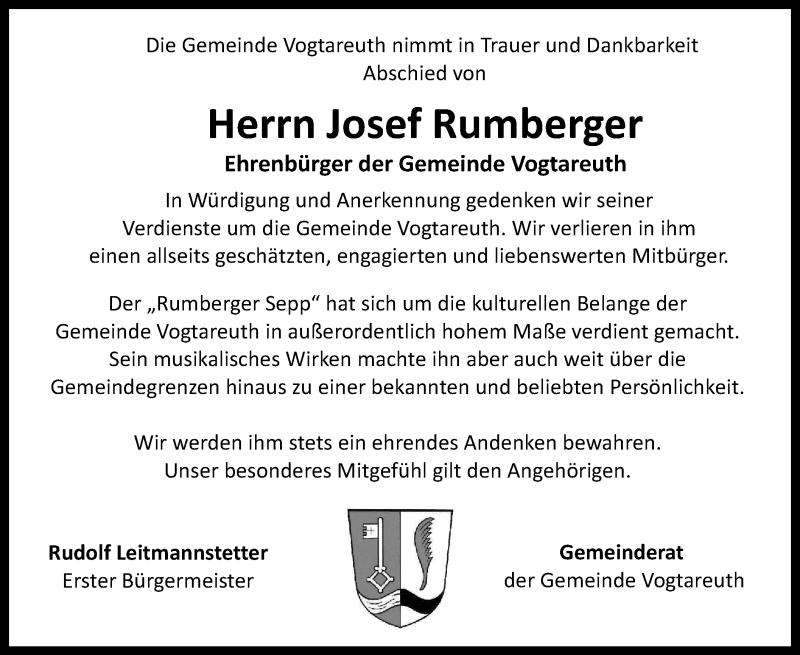 Traueranzeige für Josef Rumberger vom 05.02.2019 aus ovb