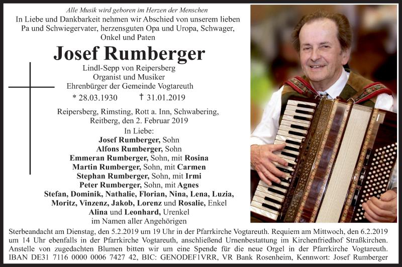 Traueranzeige für Josef Rumberger vom 02.02.2019 aus ovb