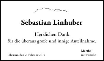 Traueranzeige für Sebastian Linhuber vom 02.02.2019 aus ovb