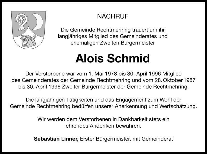 Traueranzeige für Alois Schmid vom 15.03.2019 aus ovb