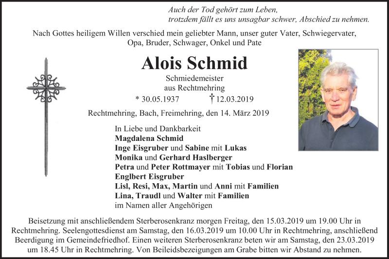 Traueranzeige für Alois Schmid vom 14.03.2019 aus ovb