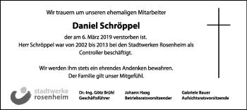 Traueranzeige für Daniel Schröppel vom 13.03.2019 aus ovb