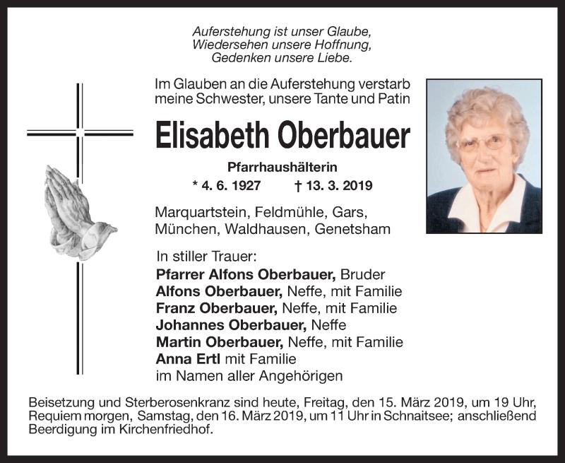 Traueranzeige für Elisabeth Oberbauer vom 15.03.2019 aus ovb