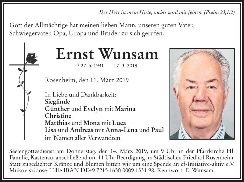 Traueranzeige für Ernst Wunsam vom 11.03.2019 aus ovb