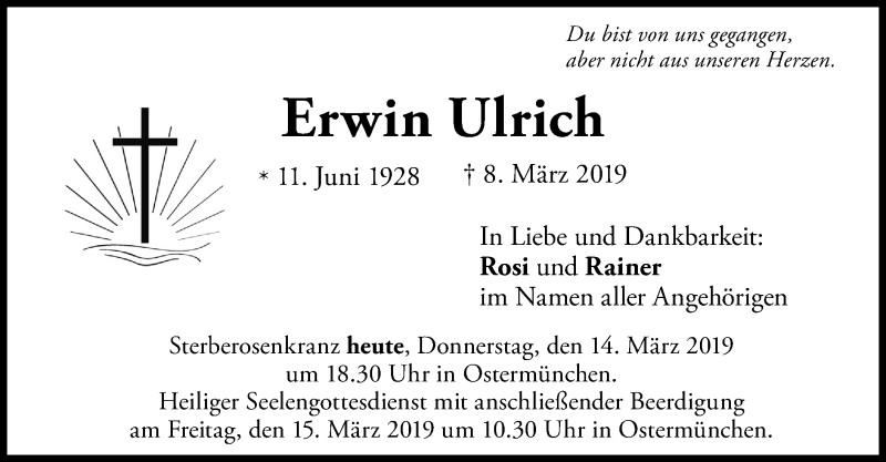 Traueranzeige für Erwin Ulrich vom 14.03.2019 aus ovb