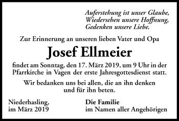 Traueranzeige für Josef Ellmeier vom 15.03.2019 aus ovb
