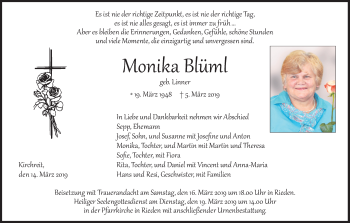 Traueranzeige für Monika Blüml vom 14.03.2019 aus ovb