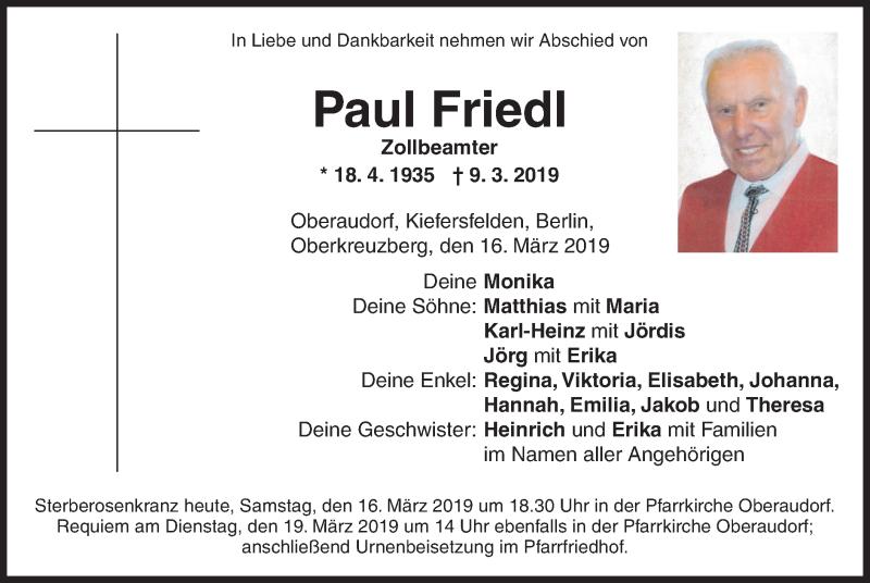 Traueranzeige für Paul Friedl vom 16.03.2019 aus ovb