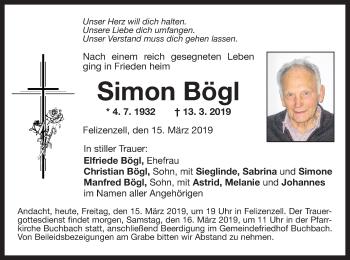 Traueranzeige für Simon Bögl vom 15.03.2019 aus ovb