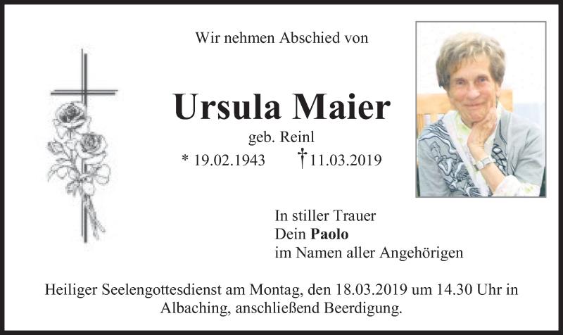 Traueranzeige für Ursula Maier vom 15.03.2019 aus ovb