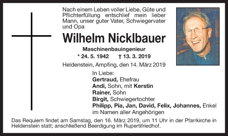 Traueranzeige für Wilhelm Nicklbauer vom 14.03.2019 aus ovb