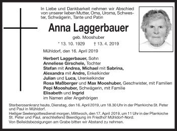 Traueranzeige für Anna Laggerbauer vom 16.04.2019 aus ovb