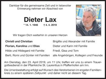 Traueranzeige für Dieter Lax vom 16.04.2019 aus ovb