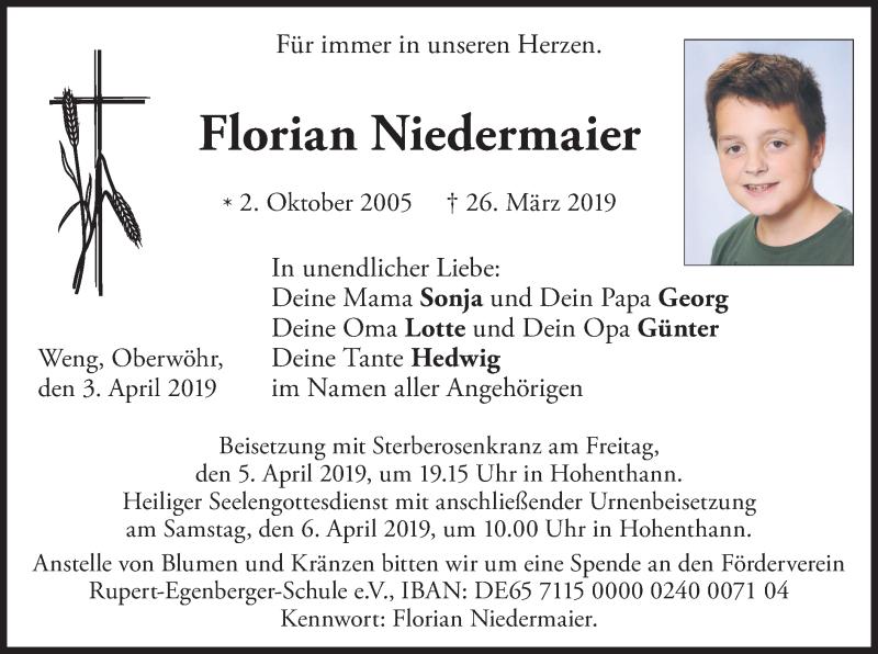 Traueranzeige für Florian Niedermaier vom 03.04.2019 aus ovb