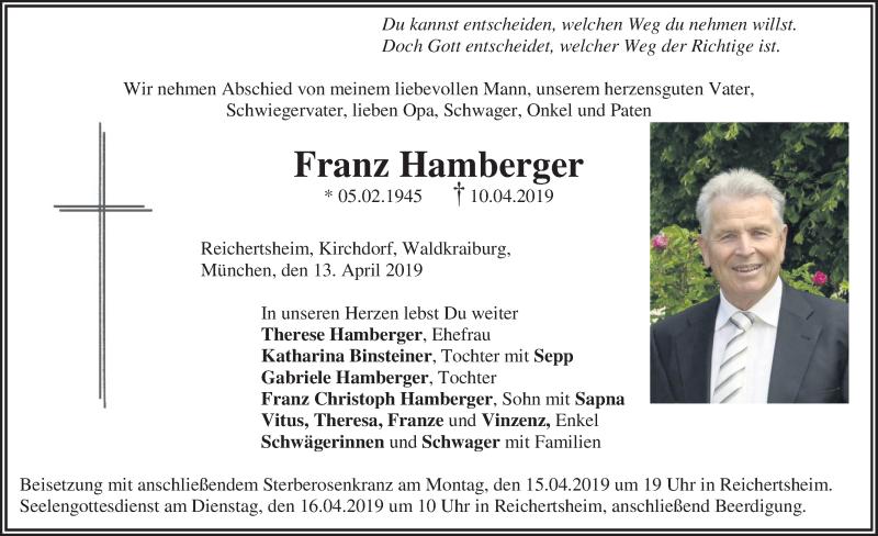 Traueranzeige für Franz Hamberger vom 13.04.2019 aus ovb