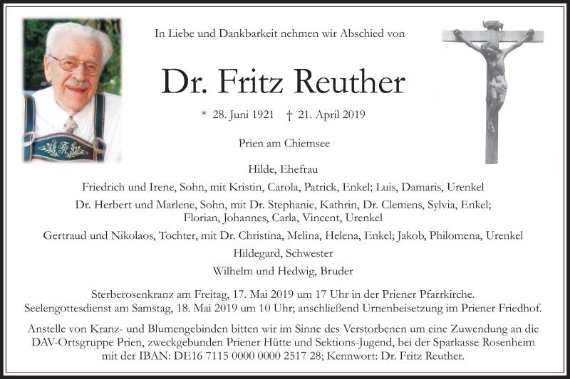 Traueranzeige für Fritz Reuther vom 27.04.2019 aus ovb