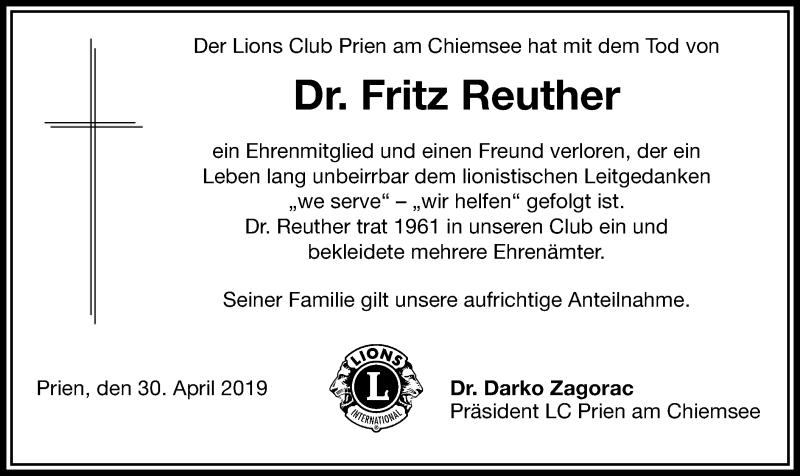Traueranzeige für Fritz Reuther vom 30.04.2019 aus ovb