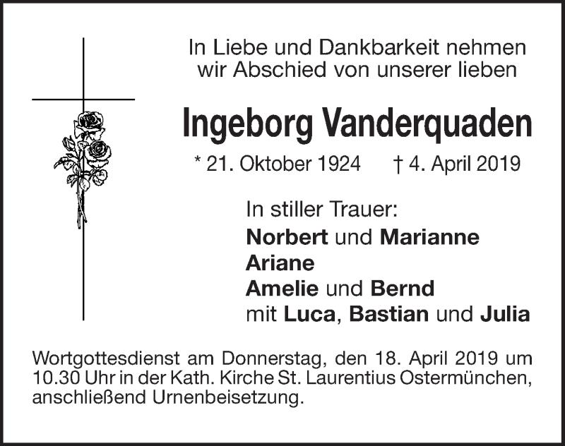Traueranzeige für Ingeborg Vanderquaden vom 15.04.2019 aus ovb