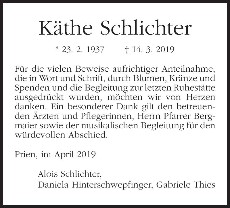 Traueranzeige für Käthe Schlichter vom 16.04.2019 aus ovb