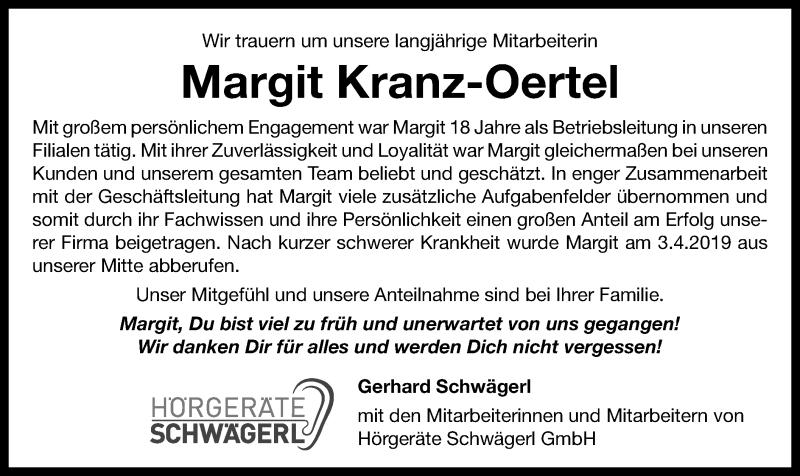 Traueranzeige für Margit Kranz-Oertel vom 16.04.2019 aus ovb