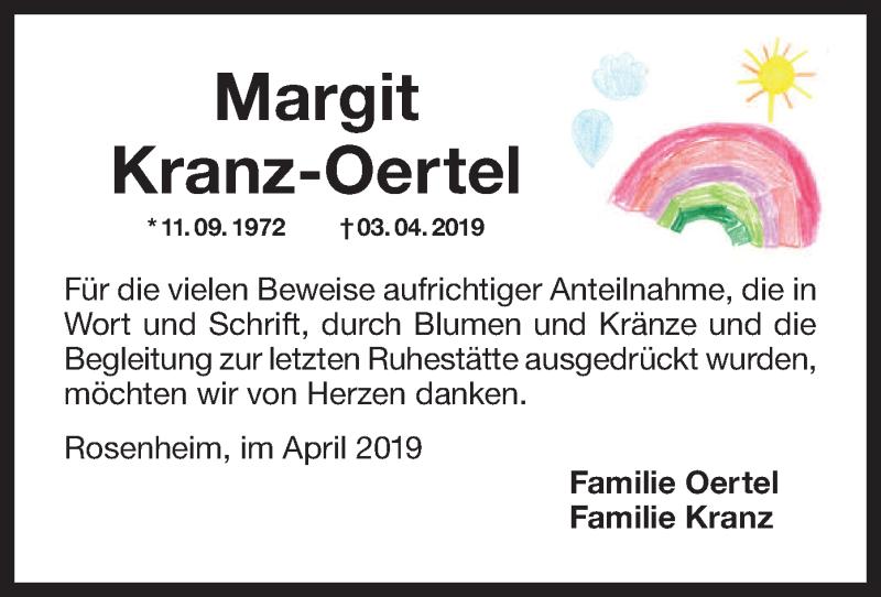 Traueranzeige für Margit Kranz-Oertel vom 20.04.2019 aus ovb