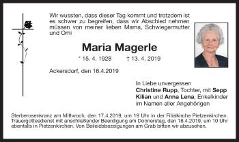 Traueranzeige für Maria Magerle vom 16.04.2019 aus ovb