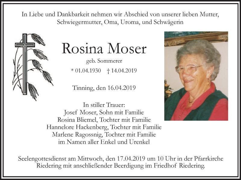 Traueranzeige für Rosina Moser vom 16.04.2019 aus ovb