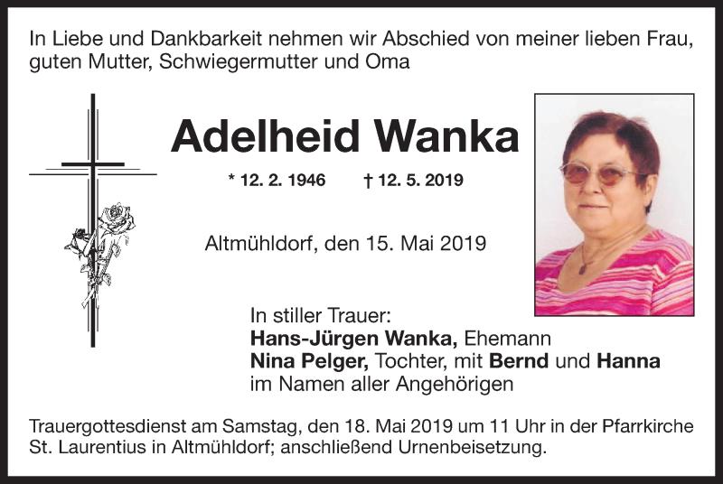 Traueranzeige für Adelheid Wanka vom 15.05.2019 aus ovb