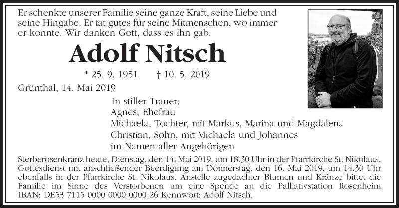 Traueranzeige für Adolf Nitsch vom 14.05.2019 aus ovb