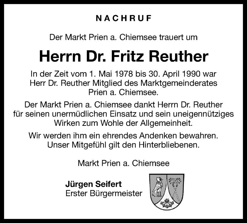 Traueranzeige für Fritz Reuther vom 21.05.2019 aus ovb