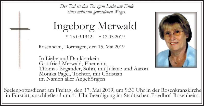Traueranzeige für Ingeborg Merwald vom 15.05.2019 aus ovb